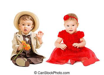garçon, gosses, dress., enfant, puits habillé, une, complet,...