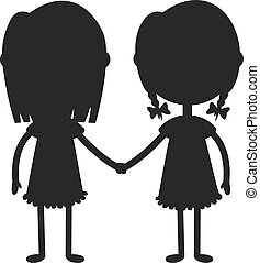 garçon, gosses, illustration., jumeaux, tenant mains, girl,...
