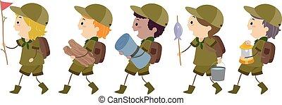 garçon, gosses, stickman, illustration, promenade, scouts