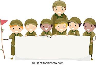 garçon, gosses, stickman, illustration, scouts, bannière