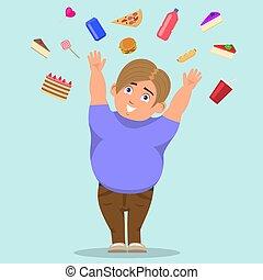 garçon, graisse, bonbons, vecteur, attraper, dessin animé