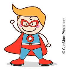 garçon, héros super, déguisement