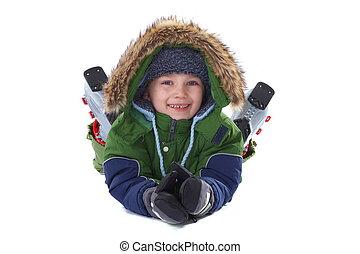 garçon, habillement, hiver, heureux