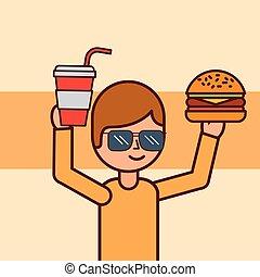garçon, hamburger, dessin animé, tenue, soude