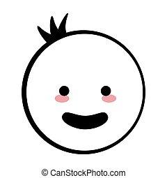 garçon, heureux, figure bâton, icône
