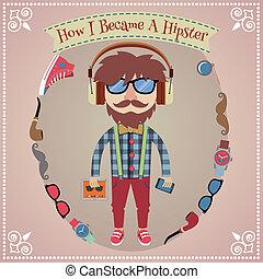 garçon, hipster, affiche