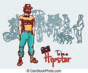 garçon, hipster, foule