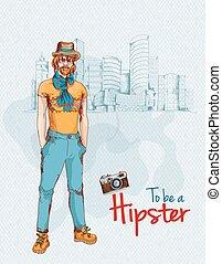 garçon, hipster, ville