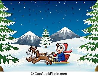 garçon, hiver, chien, deux, nuit, traîneau, équitation, tiré, heureux