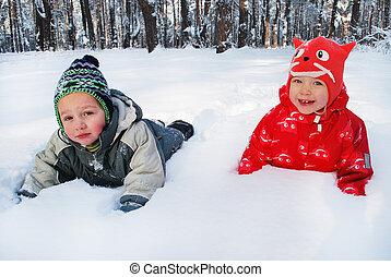 garçon, hiver, neige, forêt, girl, mensonge