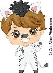 garçon, illustration, animal, zebra, gosse, déguisement, safari