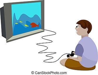 garçon, illustration, arrière-plan., vecteur, jeux visuels, blanc, jouer