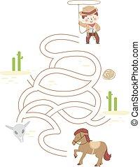 garçon, illustration, cow-boy, gosse, cheval, puzzle