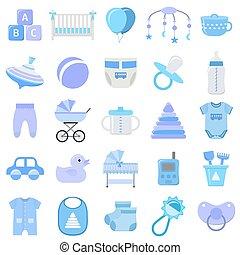 garçon, illustration., icônes, set., vecteur, bébé