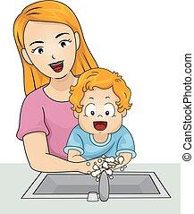 garçon, illustration, laver, maman, mains, enfantqui ...