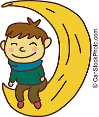 garçon, illustration., séance, lune, couleur, vecteur, heureux