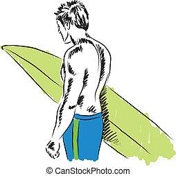 garçon, illustration, surfeur