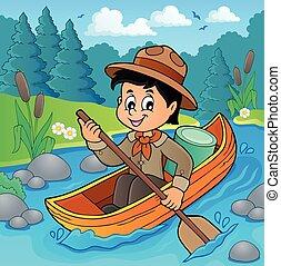 garçon, image, eau, thème, scout, 2