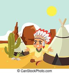 garçon, indien, désert