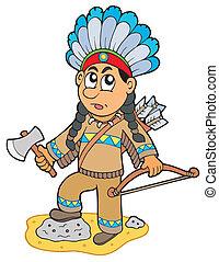 garçon, indien, hache, arc