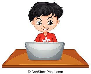 garçon, informatique, table, utilisation