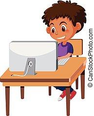 garçon, informatique, utilisation