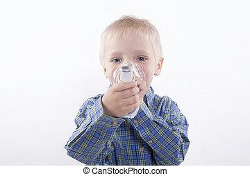 garçon, inhalateur, asthme