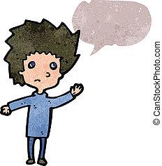 garçon, inquiété, parole, retro, bulle, dessin animé