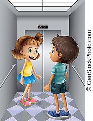 garçon, intérieur, girl, ascenseur, conversation