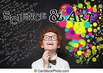 garçon, intelligent, art, brain-storming, enfant, créativité, regarder, arrière-plan., concept, modèle, maths, formule, education