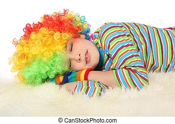 garçon, isolé, clown, dormir, fond, robe blanche
