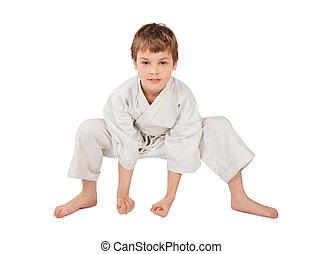 garçon, isolé, karateka, kimono, fond, blanc
