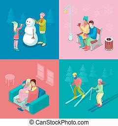 garçon, isométrique, hiver, plat, gens., marche, illustration, couple, bonhomme de neige, vecteur, ski, confection, girl, outdoor., 3d
