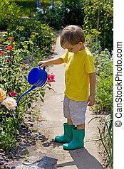 garçon, jardin