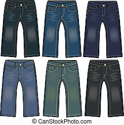 garçon, jeans treillis