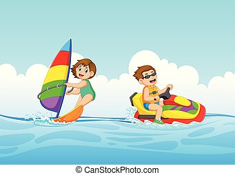 garçon, jet, voile, girl, ski, jouer, bateau