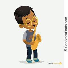 garçon, jeu, américain, saxophone, bespectacled, afro