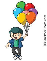 garçon, jeu, balloon