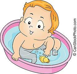 garçon, jeu, illustration, bain, canard, enfantqui commence à marcher, gosse