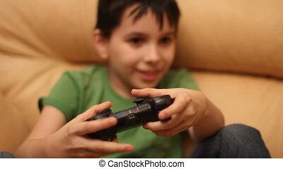 garçon, jeu, isolé, contrôleur, vidéo, utilisation, blanc