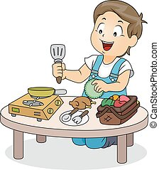 garçon, jeu, jouet, cuisine, gosse