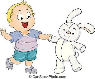 garçon, jeu, jouet, illustration, lapin, enfantqui commence à marcher, gosse