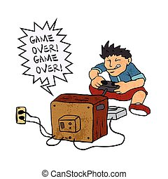 garçon, jeu, vidéo, jouer