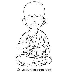 garçon, jeune, bouddha