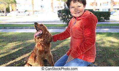 garçon, jeune, chien
