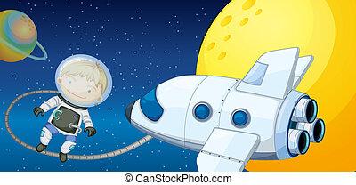 garçon, jeune, explorer, espace