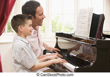garçon, jeune, jouer, sourire, piano, homme