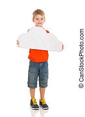 garçon, jeune, papier, tenue, nuage blanc