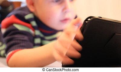 garçon, jeux, pc tablette