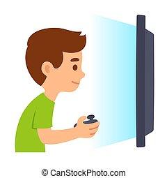 garçon, jeux visuels, jouer